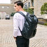High Capacity Multi Pocket Leather Backpack-wanahavit-Black-wanahavit