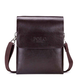 Solid Double Pocket Soft Leather Shoulder Bag-men-wanahavit-Small Brown-wanahavit