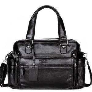 Large Capacity Leather Travel Bag with Front Pocket-men-wanahavit-balck-wanahavit