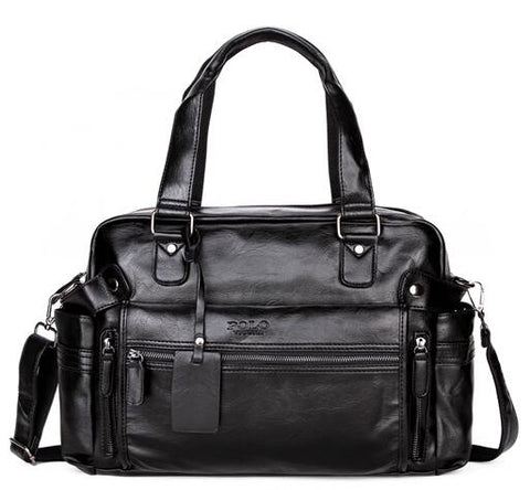 Large Capacity Leather Travel Bag with Front Pocket