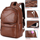 Leather Air Cushioned Backpack with Headphone Outlet-men-wanahavit-brown-wanahavit