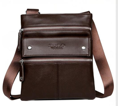 Multi Parallel Pocket Leather Shoulder Bag