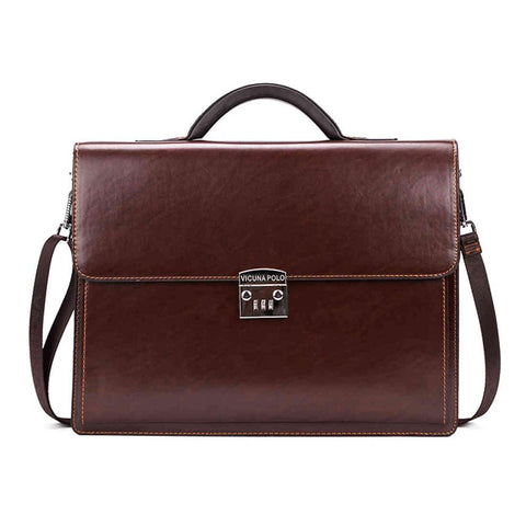 Code Locked Luxury Businessmen Leather Briefcase