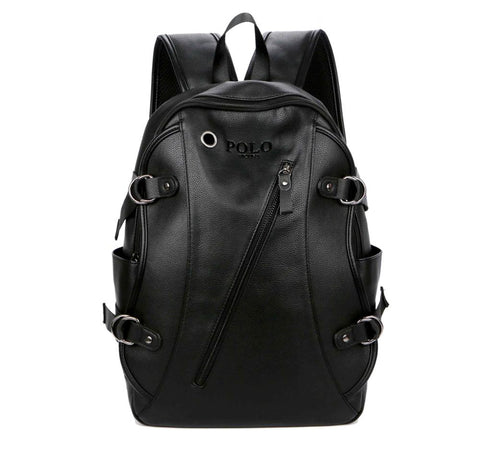 Elegant Slanted Zippered Leather Backpack-men-wanahavit-black-wanahavit