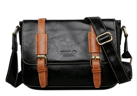 Color Accent Belt Vintage Leather Shoulder Bag - men - wanahavit