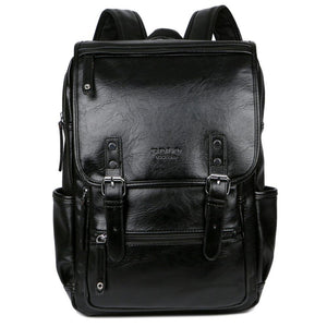 Multi Front Pocket Double Belt Leather Backpack-men-wanahavit-black-wanahavit