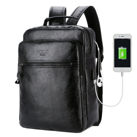 Simple Mobile Friendly Leather Backpack-unisex-wanahavit-black-wanahavit