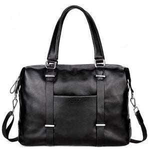Elegant PU Leather Travel Duffle Bag-men-wanahavit-black travel bag-wanahavit