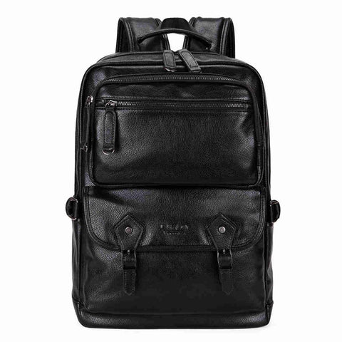 Multifunctional Breathable Leather Backpack-men-Black-wanahavit
