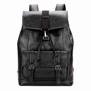 Cool Fashion Leather Drawstring Backpack-men-wanahavit-Black-wanahavit