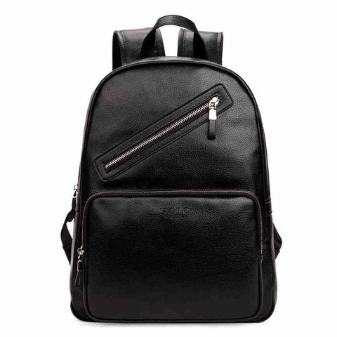 Preppy Style Leather Laptop Backpack