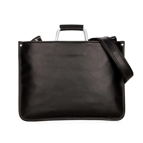 Simple Design Leather Briefcase with Metal Handle-men-Black-wanahavit