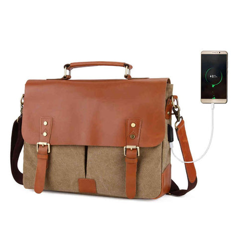 Genuine Leather Briefcase with USB Outlet