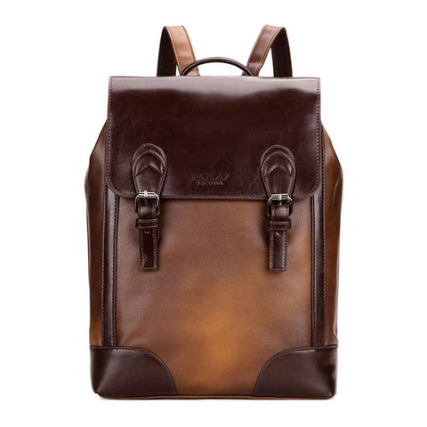 Vintage Gradient Brown Leather Backpack