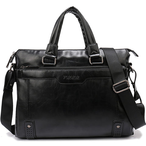 Hollow Bottom Decor Leather Briefcase-men-Black-wanahavit