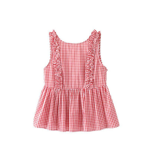 Sweet Pleated Ruffles Sleeveless Shirt-women-wanahavit-Red-S-wanahavit