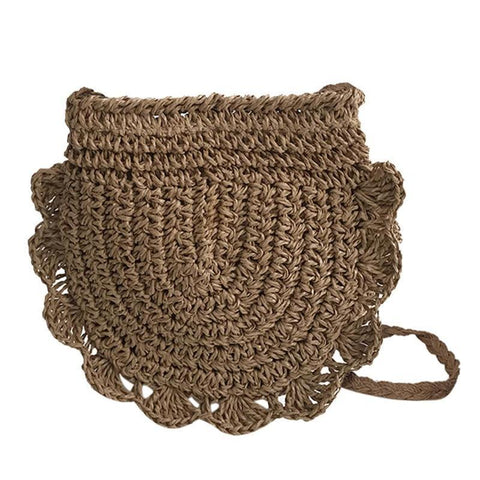 Half Moon Crochet Straw Braid Shoulder Bag-women-wanahavit-Coffee-wanahavit