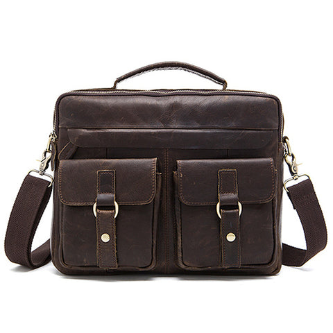 Genuine Leather Double Front Pocket Briefcase-men-choco-wanahavit