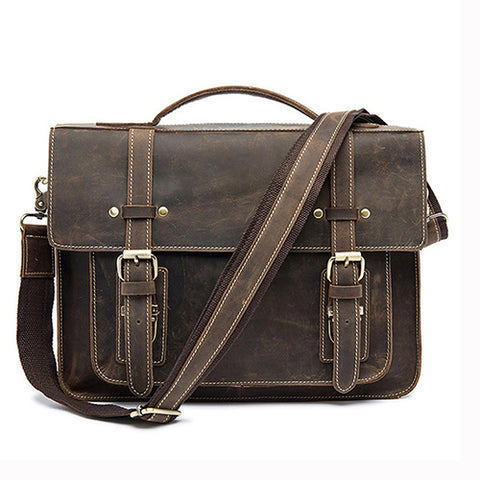 Genuine Leather Double Belt Briefcase
