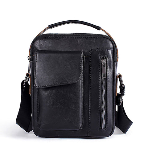 Genuine Leather Flap Leather Cover Shoulder Bag-men-8211black-wanahavit
