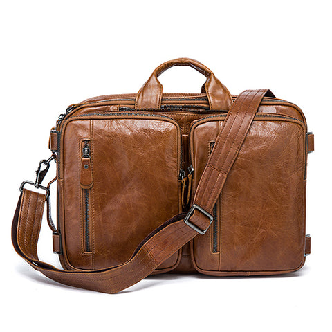 Genuine Leather Large Double Pocket Briefcase-men-brown-wanahavit