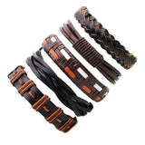 Vintage Black Leather Multilayered Braid Bracelet Set-unisex-wanahavit-C 5 pieces-wanahavit