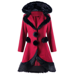 Winter Long Woolen Lace Up Coat-women-wanahavit-Burgundy-XXL-wanahavit