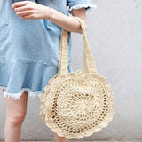 Bohemian Crisscross Hollow Out Straw Shoulder Bag-women-wanahavit-Beige-L30 H40(cm)-wanahavit