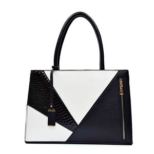 Two Color Accent Luxury Serpentine Leather Tote Bag-women-wanahavit-Black-wanahavit