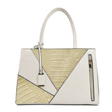 Two Color Accent Luxury Serpentine Leather Tote Bag-women-wanahavit-Beige-wanahavit