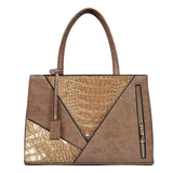 Two Color Accent Luxury Serpentine Leather Tote Bag-women-wanahavit-Khaki-wanahavit