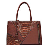 Two Color Accent Luxury Serpentine Leather Tote Bag-women-wanahavit-Brown-wanahavit