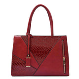Two Color Accent Luxury Serpentine Leather Tote Bag-women-wanahavit-Red-wanahavit