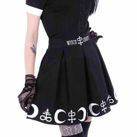 Gothic Letter & Moon Printed Pleated Mini Skirts-women-Black-S-wanahavit