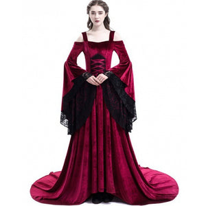Elegant Vintage Long Sleeve Gothic Mix Dress Dress-women-wanahavit-Burgundy-M-wanahavit