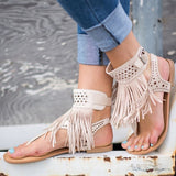 Fashion Fringe Bohemia Flats Sandal Shoes-women-wanahavit-Beige-6-wanahavit