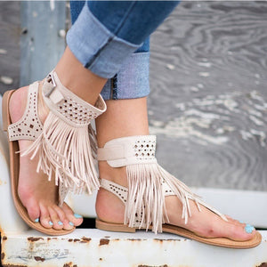 Fashion Fringe Bohemia Flats Sandal Shoes-women-wanahavit-Beige-4.5-wanahavit