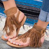 Fashion Fringe Bohemia Flats Sandal Shoes-women-wanahavit-Brown-6-wanahavit