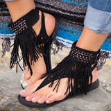 Fashion Fringe Bohemia Flats Sandal Shoes-women-wanahavit-Black-6-wanahavit