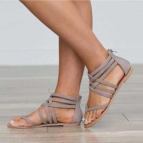 Gladiator Cross Tied Sandals-women-wanahavit-gray-4.5-wanahavit