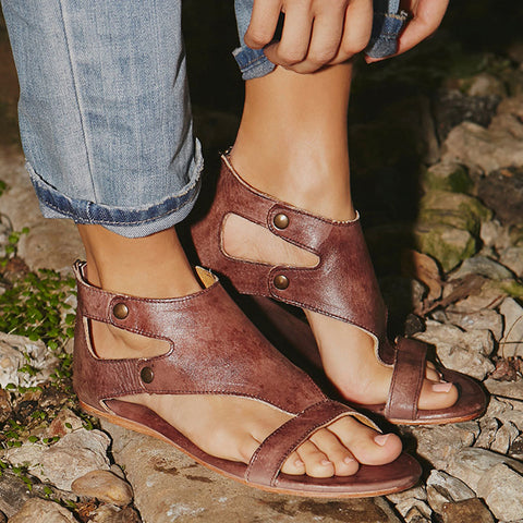 Soft Leather Gladiator Flat Sandals