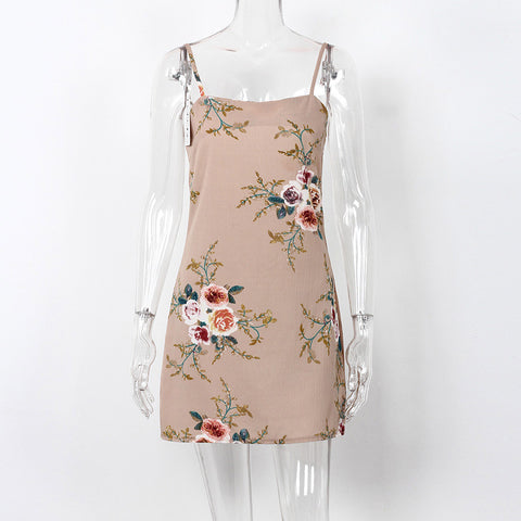 Floral Print Backless Spaghetti Strap Dress-women-Khaki-L-wanahavit