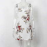 Floral Print Backless Spaghetti Strap Dress-women-White-L-wanahavit