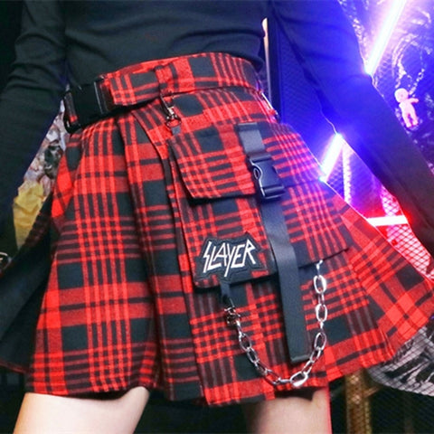 Gothic Preppy Style Low Waist Plaid Short Skirt-women-wanahavit-Red-S-wanahavit