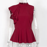 Peplum Ruffle Asymmetric Sleeveless Blouse-women-wanahavit-Wine red-S-wanahavit