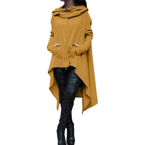 Irregular Draw Cord Coat Loose Long Sleeve