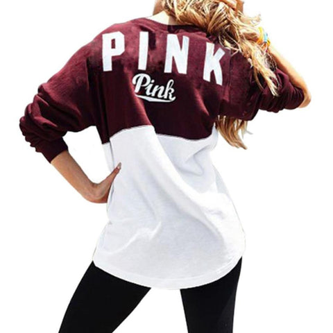 Two Color Accent Pink Letter Printed Sweatshirt-women-wanahavit-S-wanahavit