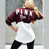 Two Color Accent Pink Letter Printed Sweatshirt