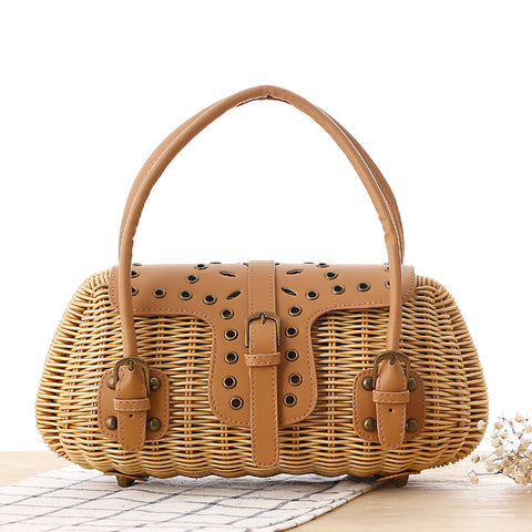 Japanese Journal of the Hands Rattan Tote Bag-women-brown-wanahavit
