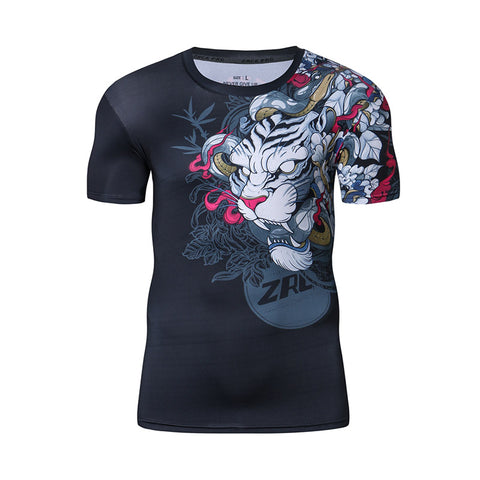 Chinese White Tiger Printed Fitness Shirt-men fitness-wanahavit-Asia S-wanahavit